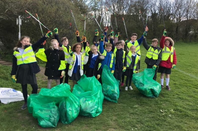 infant school litter picking group