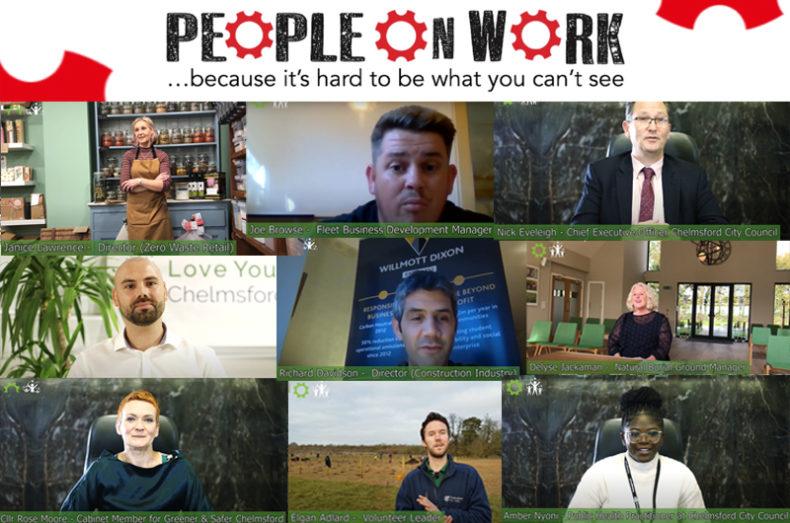 people on work montage